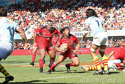 Top 14 rugby match USAP vs Stade Toulousain Editorial Image