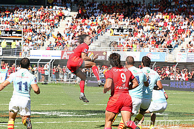 Top 14 rugby match USAP vs Stade Toulousain Editorial Photo
