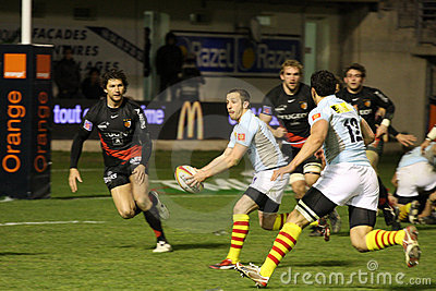 Top 14 rugby match USAP vs Toulouse Editorial Image