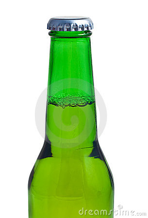 Top of a beer bottle in a white background