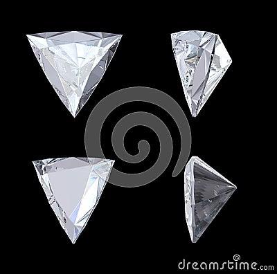 Top, bottom and side views of trillion diamond