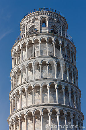 Top detail of Leaning tower of Pisa, Italy
