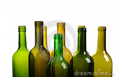 Top of empty green wine bottle isolated