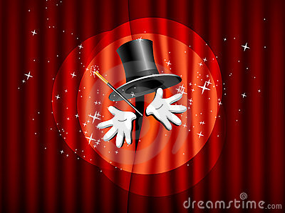 Top hat, magic wand and hand