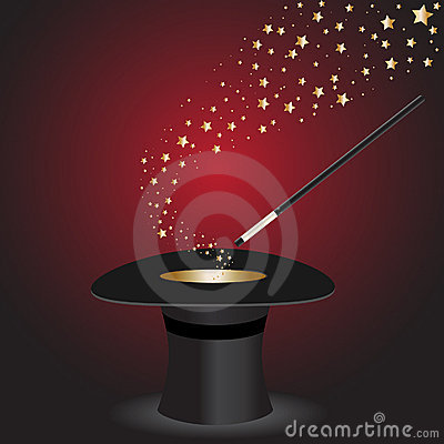 Top Hat Magic Wand With Stars Royalty Free Stock Image - Image: 7118096