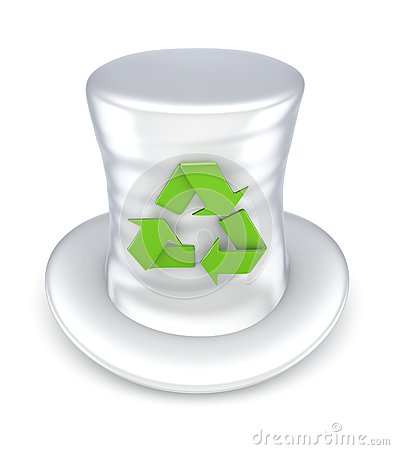 Top-hat with recycle symbol.