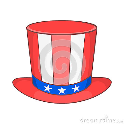 Top hat in the USA flag colors icon, cartoon style Vector Illustration