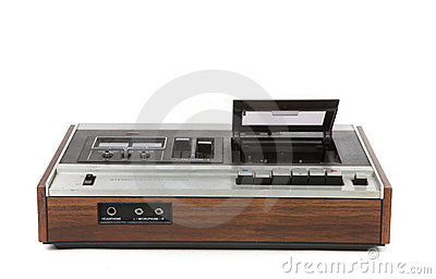 Top Low Angle View of Vintage Audio Cassette Player