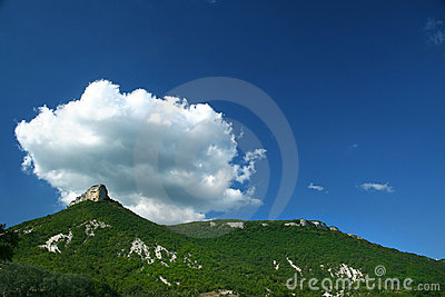 Top of a mountain, lblue sky and cloud /  panorama