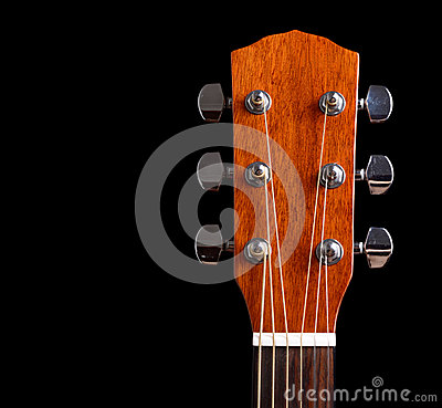 Free Top Of Guitar Neck Over Black Background Stock Image - 28752181