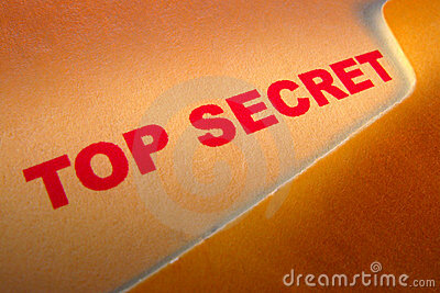 Top Secret Document Stamp in Confidential Folder