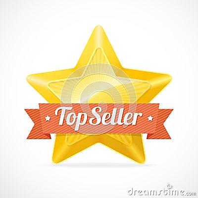 Free Top Seller Star Label. Vector Illustration Stock Photo - 46537260