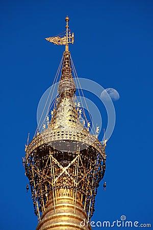 At the top of Shwedagon pagoda