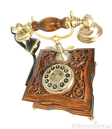 Top side view of antique telephone