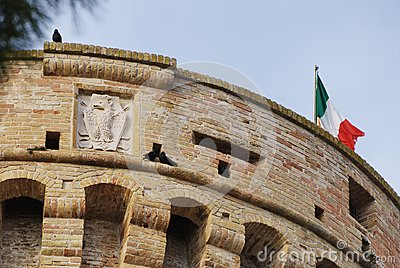 Top of the tower, Acquaviva Picena s fortress