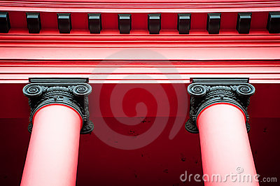 Top of two red columns