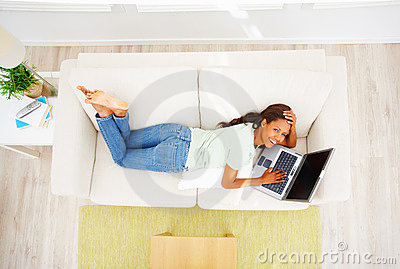 Top view of an African American woman using laptop