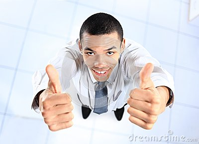 Top view of african businessman giving OK