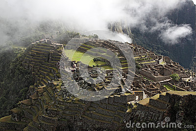 Top view of the ancient city of Machu Picchu