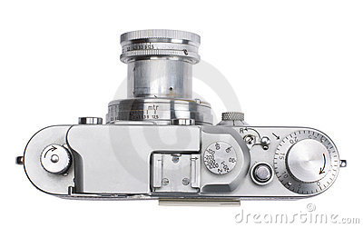 Top view of antique rangefinder camera