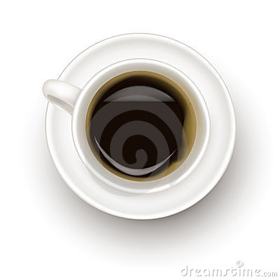Top view of black coffee cup.