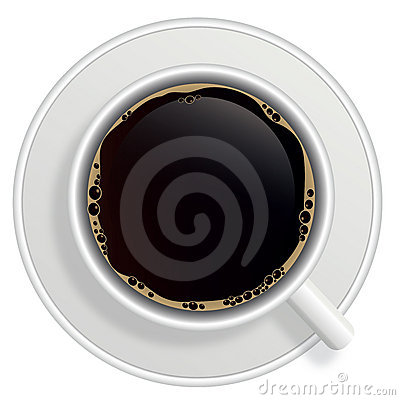 Top view of black coffee cup