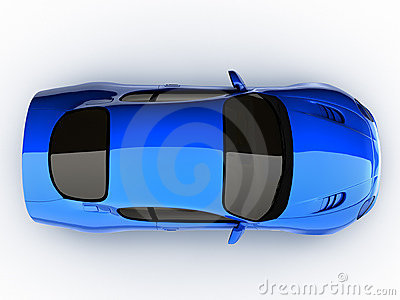 Top view of a blue sports car