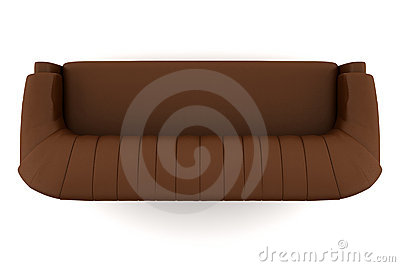 Top View Of Brown Leather Sofa Isolated On White Stock Image - Image: 14310941