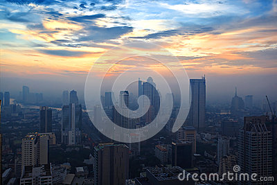 Top view building sunset time