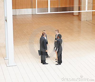 Top view of business colleagues discussing work