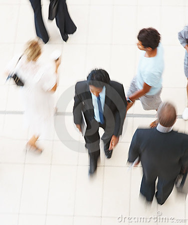 Top view of a business man walking