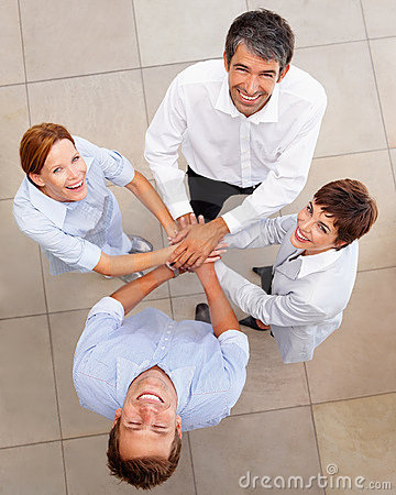Top view of business people with a hands together