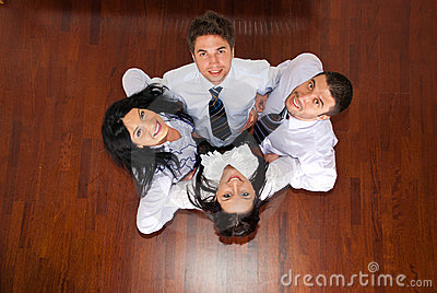 Top view of business people in a huddle