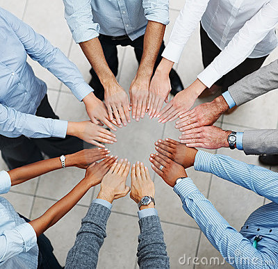 Top view of a business team taking an oath
