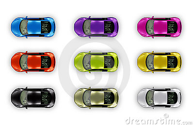 Top view cars package isolated on white