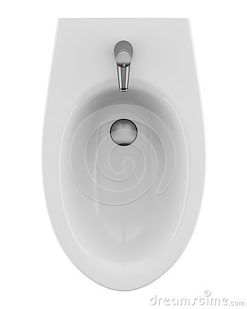 Top view of ceramic bidet isolated on white