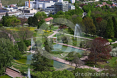 Top view of a city park