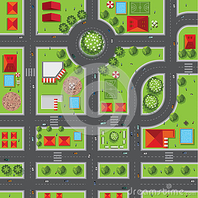 Top view of the city of streets, roads, houses, treetop, vector Vector Illustration
