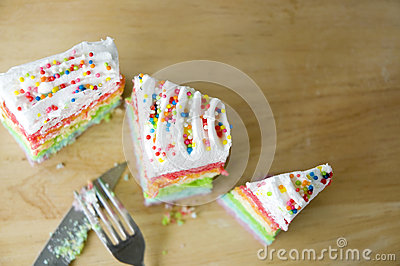 Top view of colorful cake
