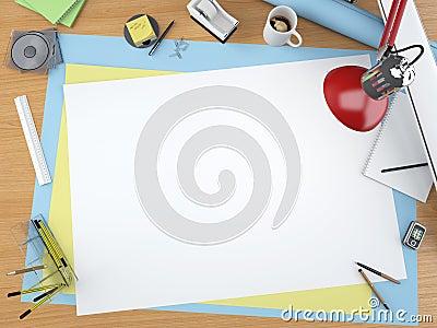 Top view of designer desktop