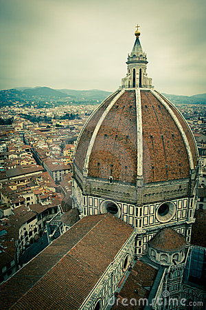 Top view of Duomo cathedral in Florence, Italy