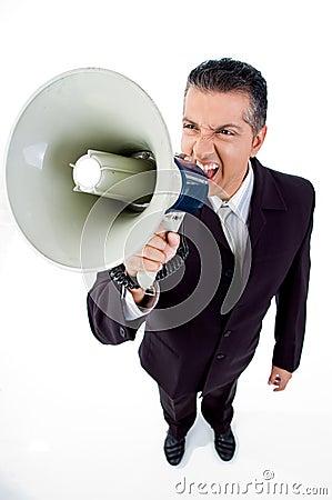 Top view of employee shouting in loudspeaker
