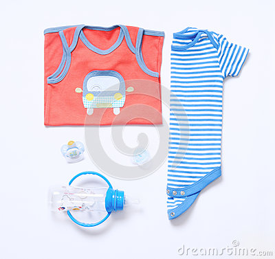Free Top View Fashion Trendy Look Of Baby Boy Clothes And Stuff Stock Image - 69675601
