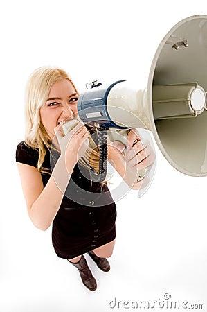 Top view of female shouting in loudspeaker