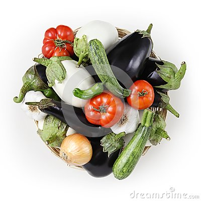 Free Top View Food White And Black Eggplants With Tomatoes, Zucchini, Royalty Free Stock Photography - 110011467