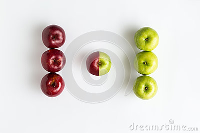 Top view of genetically modified red and green apples Stock Photo