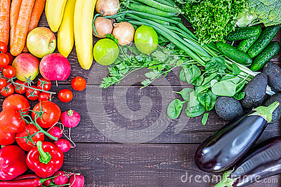 Top View of Healthy Eating Background with Colorful Fresh Organic Vegetables and Herbs, Healthy Food from Garden, Diet or Stock Photo