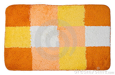 Top view of isolated colorful bath mat