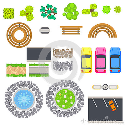 Top view landscape vector isolated objects. Vector Illustration
