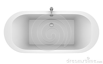 Top view of modern bathtub isolated on white